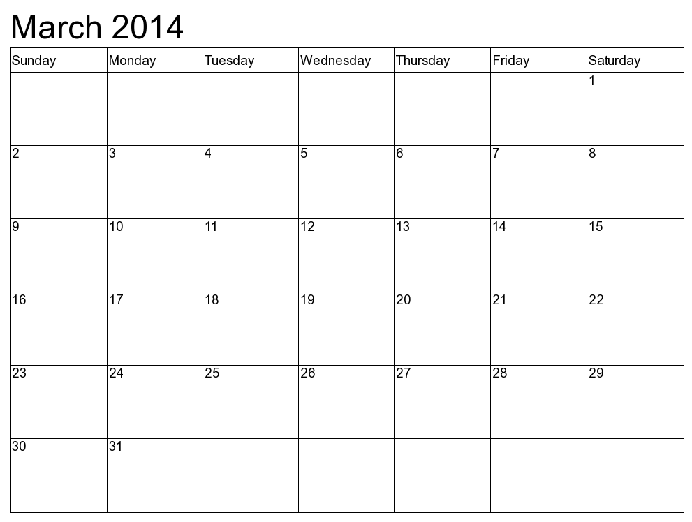 March 2014 Calendar With Holidays Printable march 2014 calendar with ...